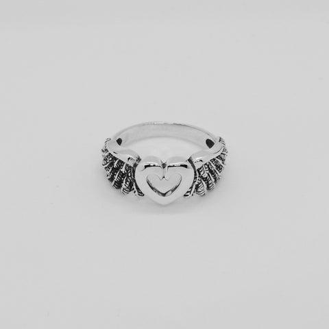 HEART X ANGEL WINGS RING