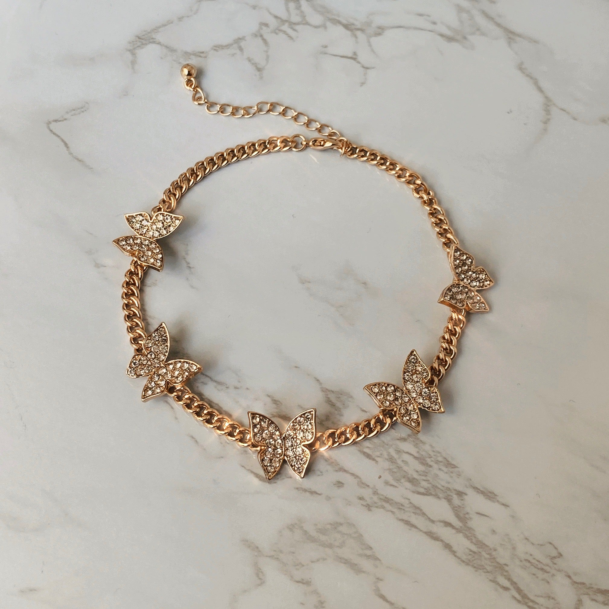 Icy Gold Butterfly Anklet