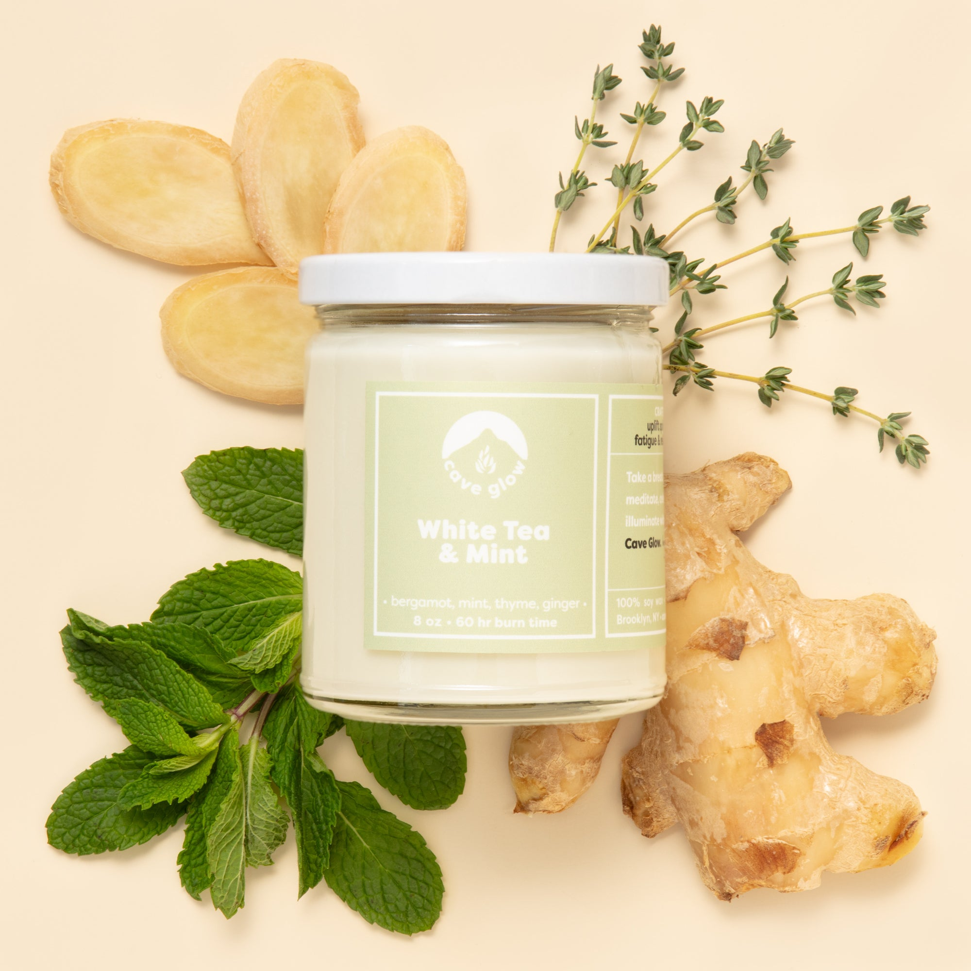 White Tea & Mint Candle by Cave Glow Studio