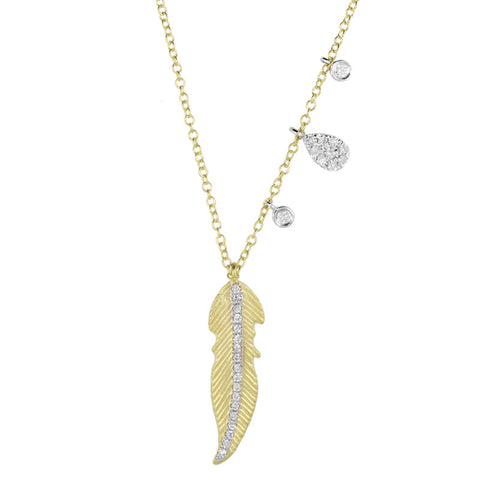 Meira T Yellow Gold Layering Leaf Necklace