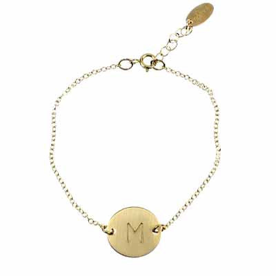 Personalized Initial Disc Bracelet Brass by Nashelle