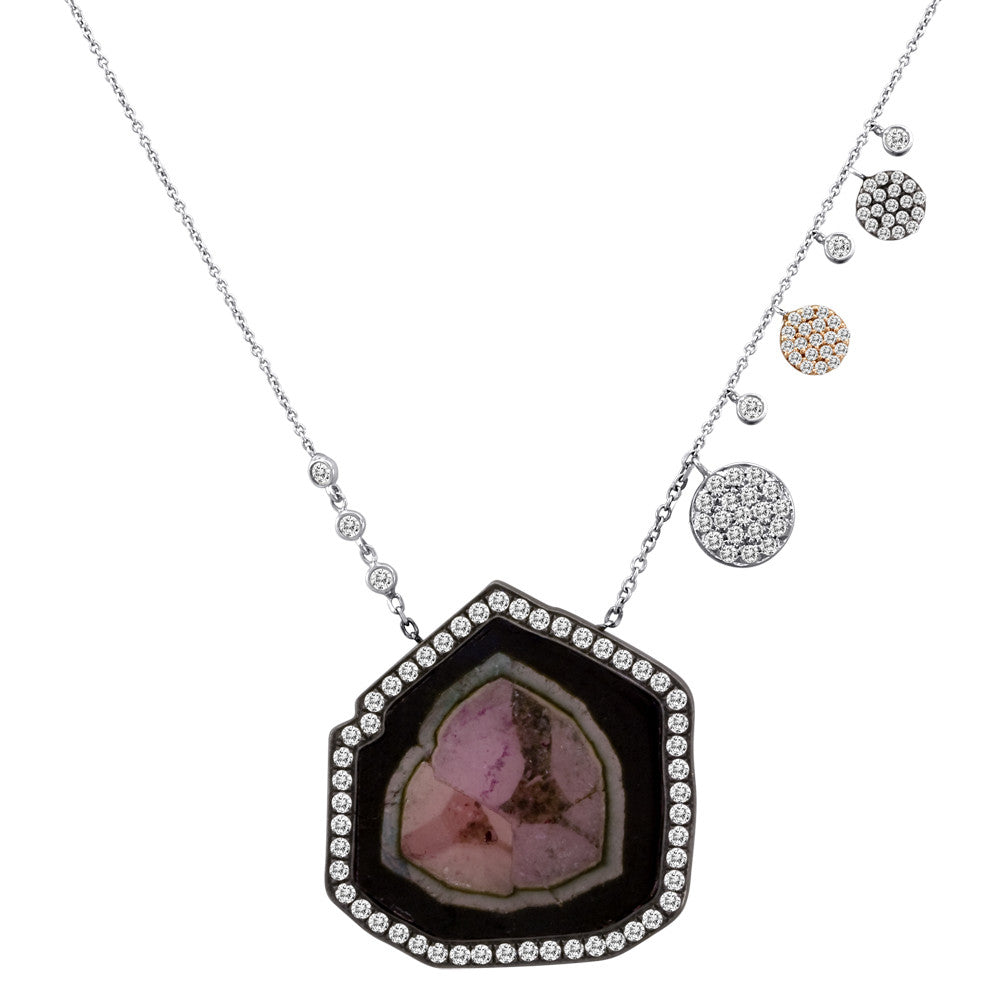 Meira T Watermelon Tourmaline Necklace with Off-Centered Side Charms