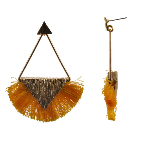 2.5-Inch Gold Triangle Drop Earrings w/ Fringe - Yellow
