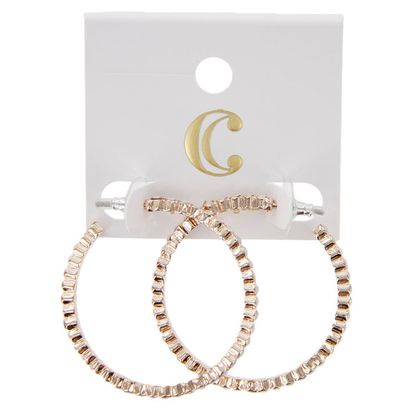 "1.5"" Rhinestone Inset Post Hoop Earrings - Charming Charlie"