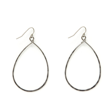Hammered Metal Simple Teardrop Earrings