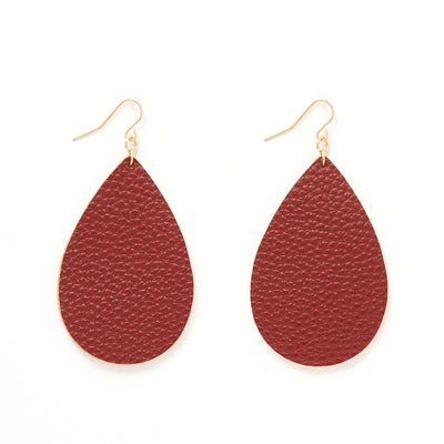 Faux Leather Fabric Teardrop Earrings