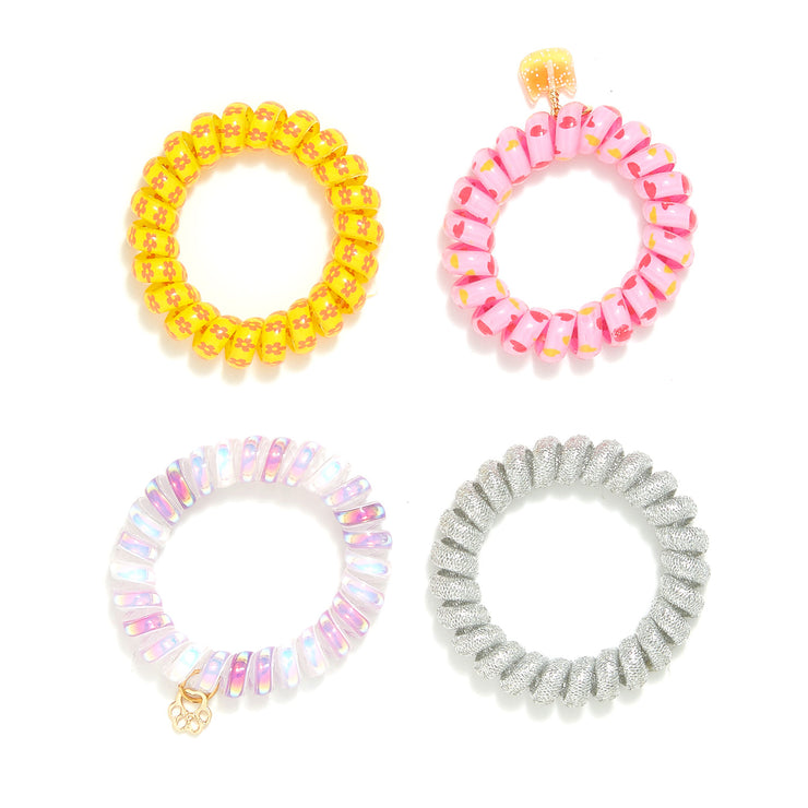 Multi-Printed Hair Coils Set - 2 Charms - Pack of 4
