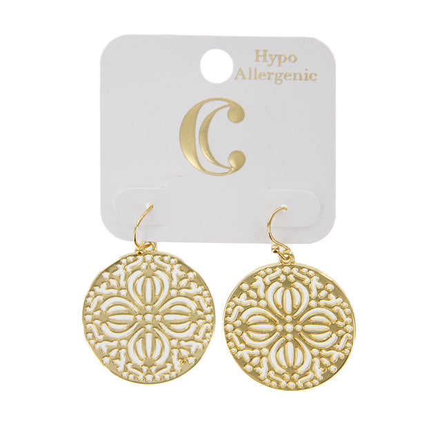 "1.5"" Metal Filigree Round Disc Drop Earrings"