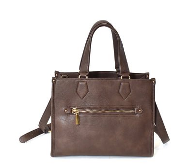 Triple Compartment Zip Front Satchel