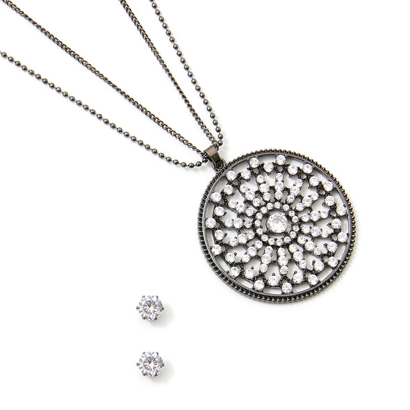 30-Inch Floral Circle Necklace and Earring Set - Silver