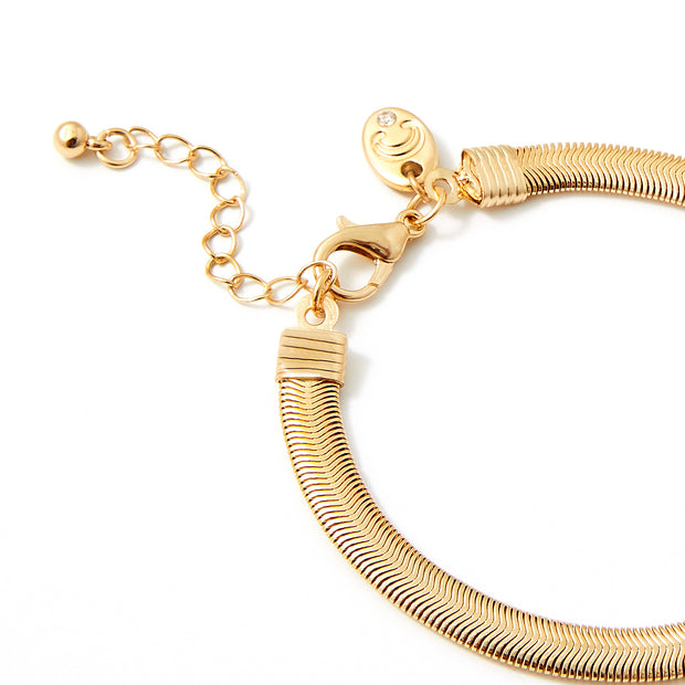 "8-Inch Flexible Flat Chain Bracelet - 3"" Extender- Gold"