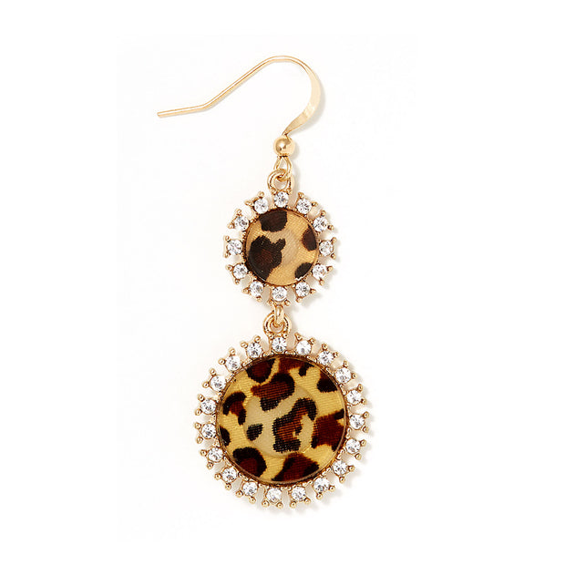 Fish Hook Double Drop Gold Earrings - Leopard Details - Brown