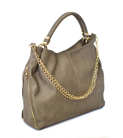 Large Chain Detail Cinch Hobo Bag
