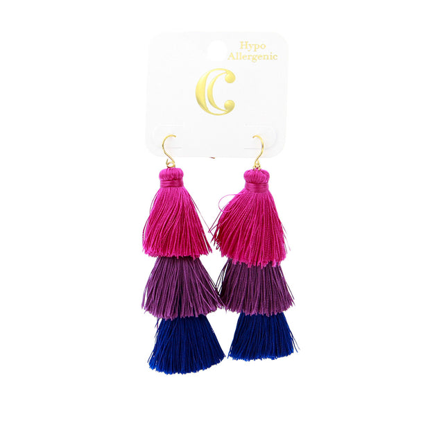"3.25"" Fabric Tassel Statement Dangle Earrings - Pink - Charming Charlie"