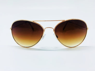 Neutral Gradient Lens Classic Aviator Sunglasses - Brown & Gold