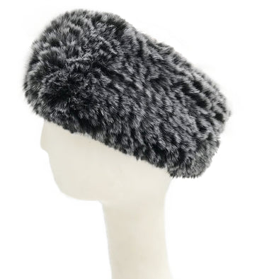 Black Frost Faux Rex Rabbit Fur Textile Knit Stretchy Headband