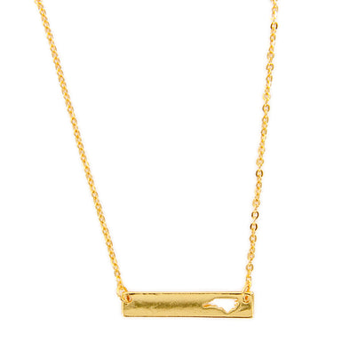 "North Carolina State Cutout 16"" Bar Necklace"