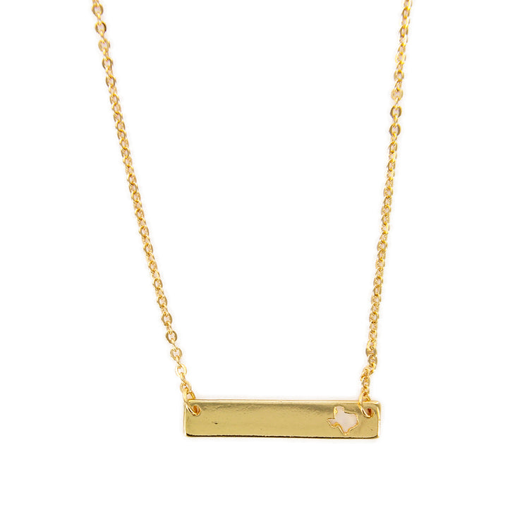 "Texas State Cutout 16"" Bar Necklace"