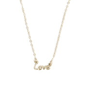 Love Script Pendant Necklace - Silver