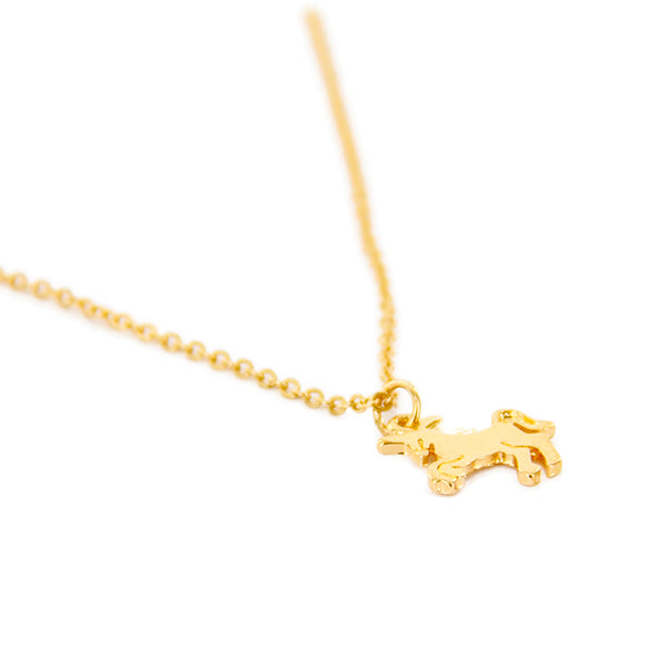 Unicorn Charm Delicate Short Necklace - Gold