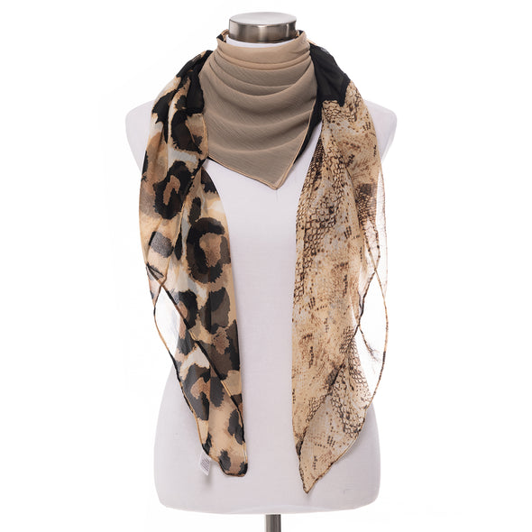 Patched Animal Square Scarf