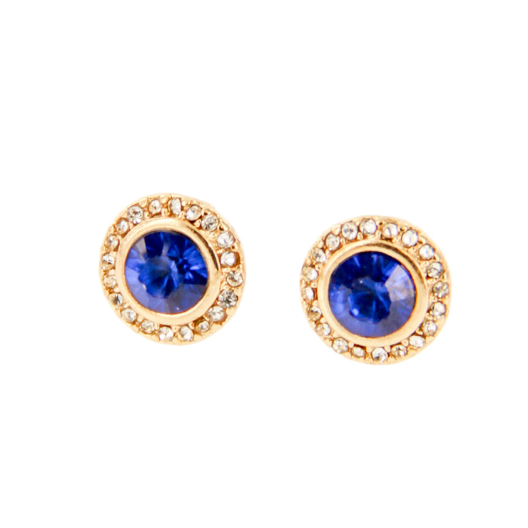 Round Rhinestone Stud Earrings - Steel Post - Blue/Gold - Charming Charlie