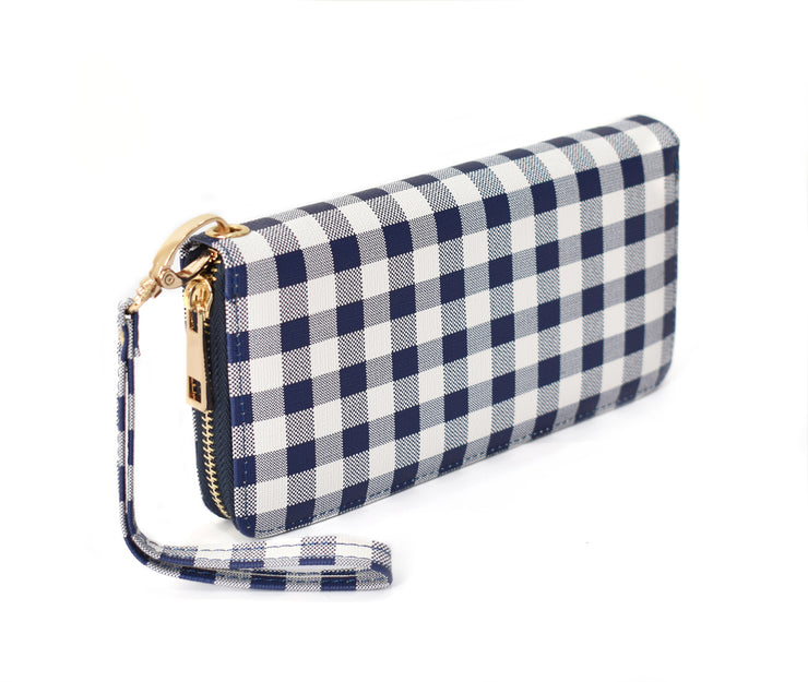 Gingham Print PU Leather Wallet