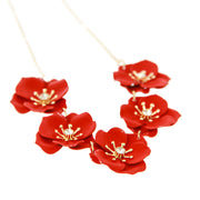 Painted Flowers Short Collar Necklace - Red