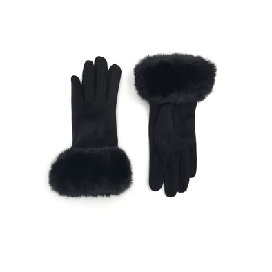 Black Faux Suede Soft Gloves with Black Faux Rex Rabbit Fur Cuffs