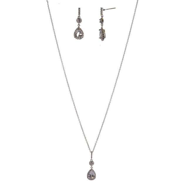 15-Inch Flower Necklace and Earring Set w/ CZ - Silver