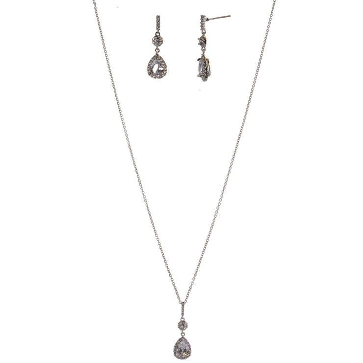 15-Inch Flower Necklace and Earring Set w/ CZ - Silver - Charming Charlie