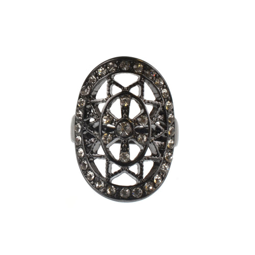 Hematite Oval Filigree Stone Ring - Crystal Glass - Hem