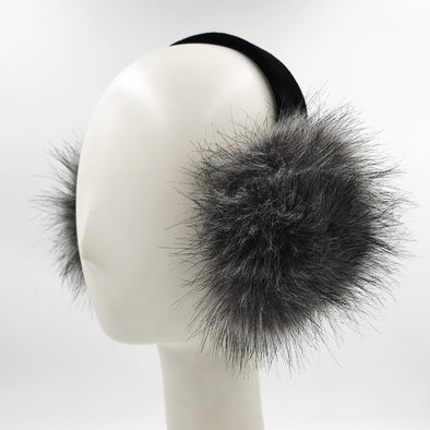 Black Faux Rex Rabbit Fur Earmuff with Black Velvet Band
