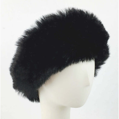 Leopard Faux Rex Rabbit Fur Earmuff with Black Velvet Band