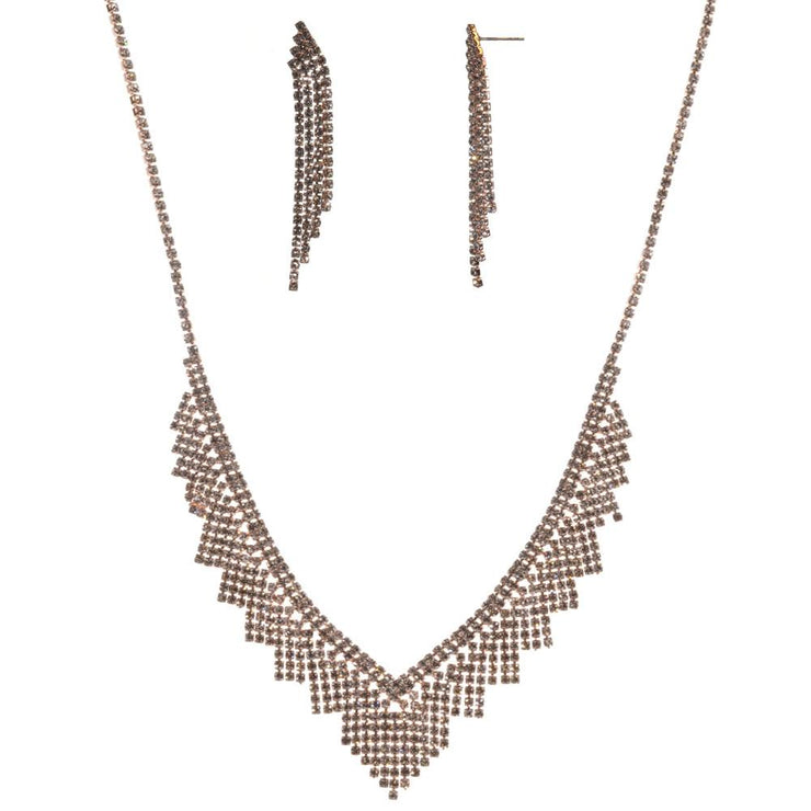 16-Inch Fringe Necklace and Earring Set - Rose Gold