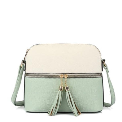 Colorblock Dome Tassel Crossbody