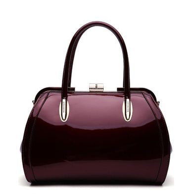 Glossy Double Handle Frame Satchel
