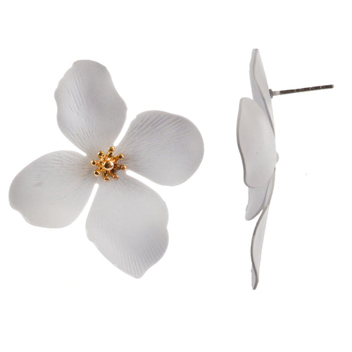 Flower Post w/ Beaded Center Jewelry Earrings - White