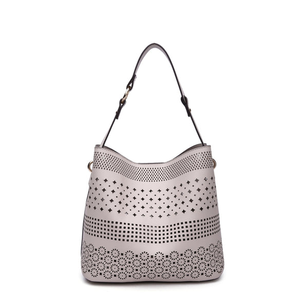 Perf Shoulder Bag With Snap Closure Hobo Bag