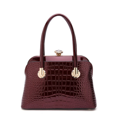 Glossy Croc Dome Satchel