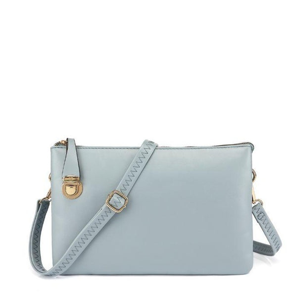 Zipper Closure Faux Wristlet / Crossbody
