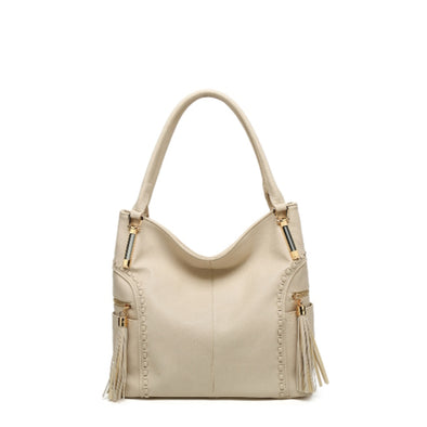 Shoulder Bag With Whip Stitch And Tassel Detail