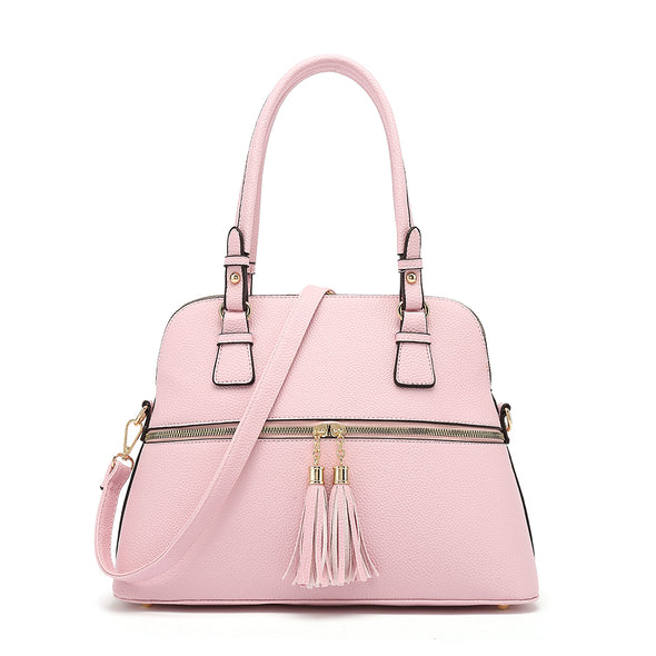 Dome Satchel With Zipper And Tassel Detail Crossbody