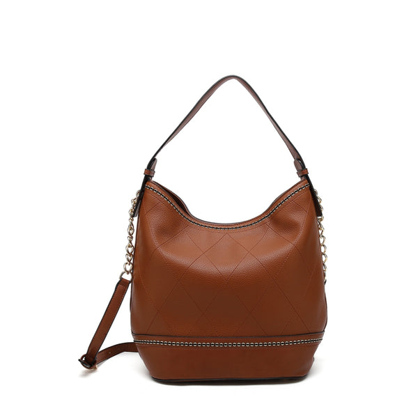 Small Hobo With Zip Closure And Detachable Cross Body Strap