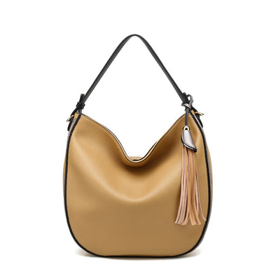 Zip Closure Hobo Shoulder Bag With Tassel