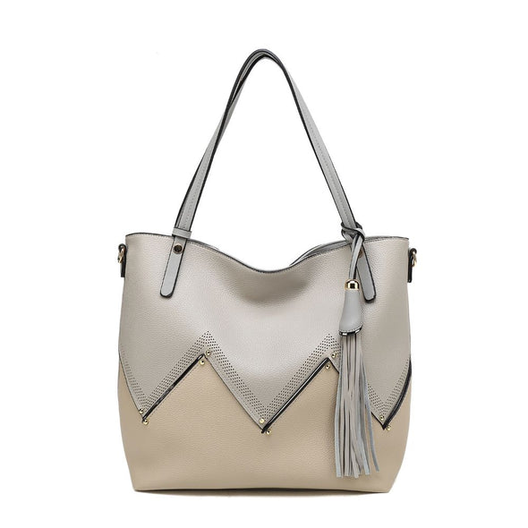 Zigzag Tote Bag With Tassel