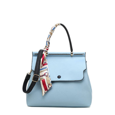 Flap Satchel With Scarf Charm And Detachable Shoulder Strap