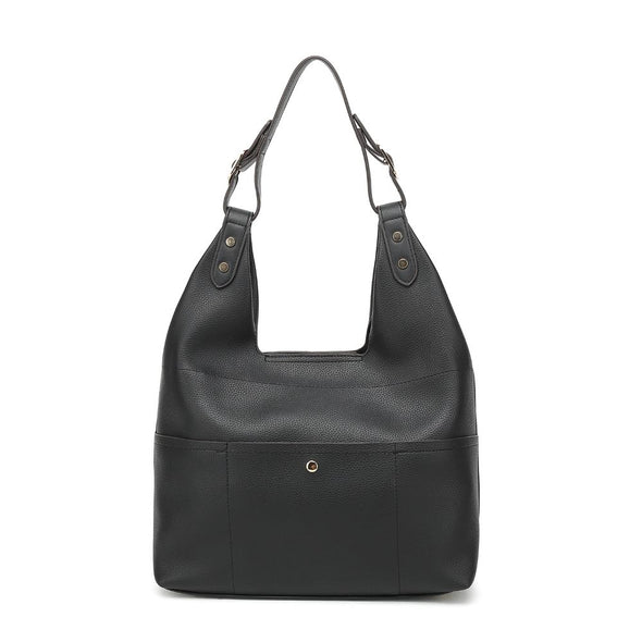 Zipper Closure Bucket Shoulder Bag