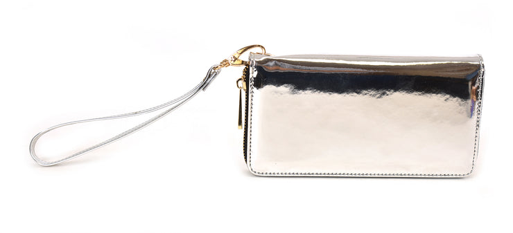 Metallic Wristlet Zip Around Wallet