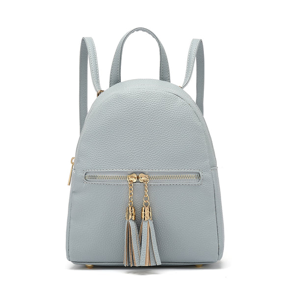 Solid Small Back Pack With Front Zip Pocket